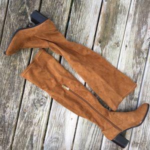 Zara Camel Suede Over the Knee Heeled Boots sz 38